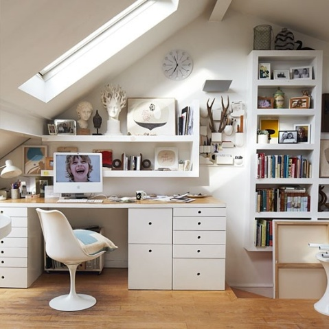Loft Ideas - white workspace, blogged on Stylist's Own by Joanna Thornhill