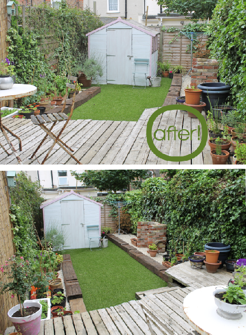 After Shots to Shed Garden Makeover by Joanna Thornhill for Stylist's Own