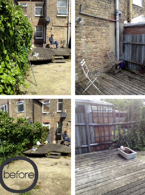 Before Shots Garden Makeover by Joanna Thornhill for Stylist's Own