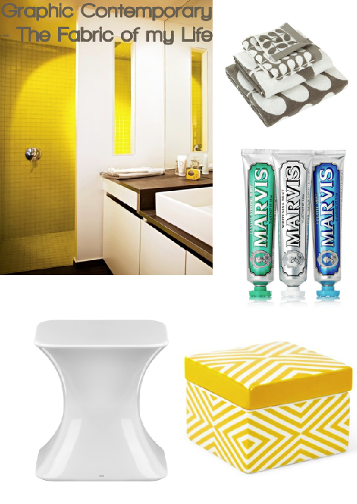 Graphic Contemporary Bathroom Board by Fabric of my Life, compiled by Joanna Thornhill for Stylist's Own