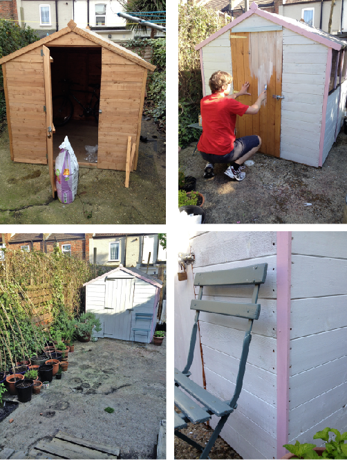 Shed Painting Garden Makeover by Joanna Thornhill for Stylist's Own