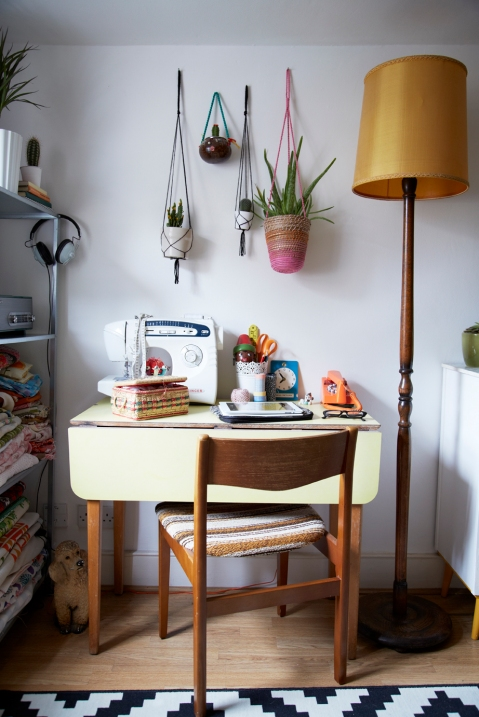 Clare Nicolson's craft:work:dining table in her studio flat, as featured in Home for Now by Joanna Thornhill