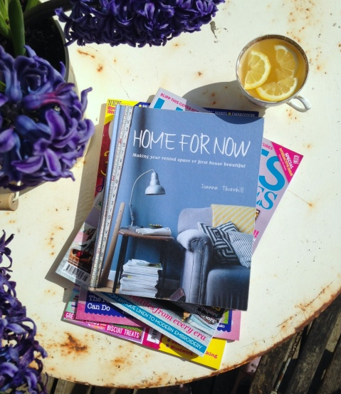 Home for Now book with Hyacinths by Joanna Thornhill