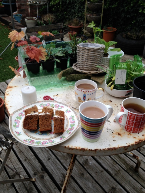 Coffee and cake in the garden as seen on Stylist's Own Blog by Joanna Thornhill