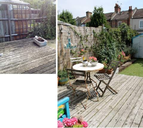 Garden Makeover Before & After by Joanna Thornhill for Stylist's Own - seating area