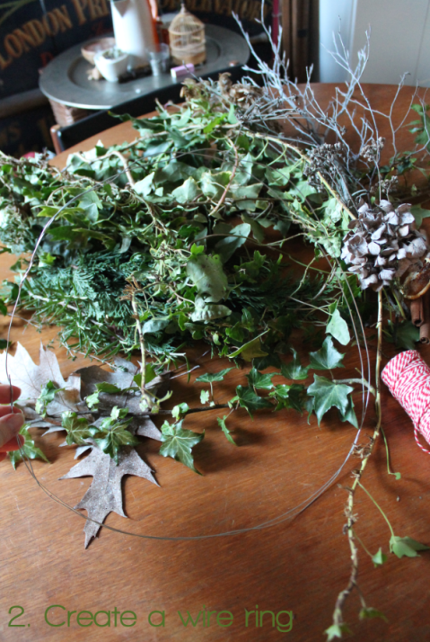 2. Create a wire ring Wreathmaking DIY by Joanna Thornhill for Stylist's Own