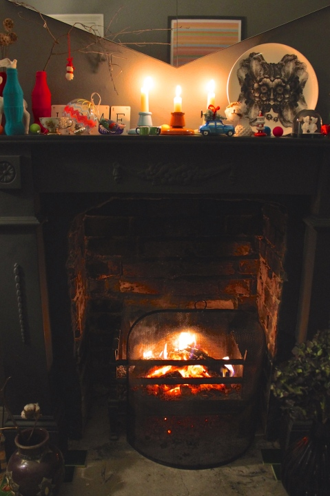 Fireplace at Christmas 2014 - Joanna Thornhill for Stylist's Own Blog